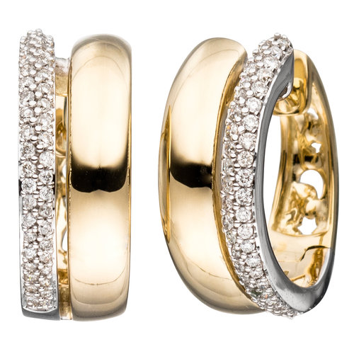 Creolen 585 Gold bicolor 86 Diamanten