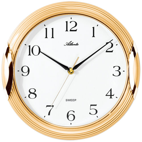 Atlanta 4235/9 Wanduhr Quarz analog golden rund leise ohne Ticken